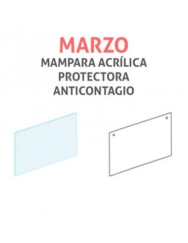 Mampara protectora acrílica anticontagio COVID19 mod. MARZO transparente 100x75cm