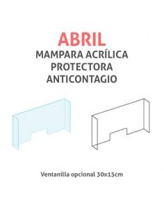 Mampara protectora acrílica anticontagio COVID19 mod. ABRIL transparente 100x75cm