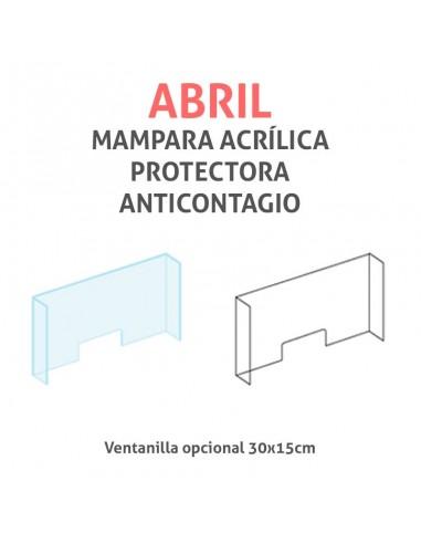 Mampara protectora acrílica anticontagio COVID19 mod. ABRIL transparente 120x75cm
