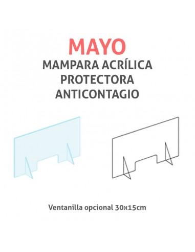 Mampara protectora acrílica anticontagio COVID19 mod. MAYO transparente 60x40cm