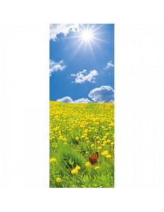 Banner-poster de paisaje campo de flores amarillas y cielo para la decorar en primavera centros comerciales y escaparates