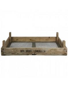 Caja de listones de madera con fondo de malla para cribar para la decorar en primavera centros comerciales y escaparates