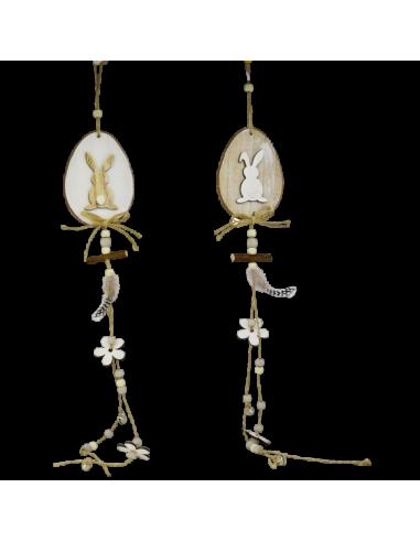 Colgantes forma de huevo con silueta conejo natural 65cm