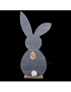 Conejo 2D con colgante feliz pascua y base gris 28x71x6cm
