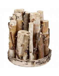 Florero de troncos de abedul incrustado tubos de ensayo para la decorar en primavera centros comerciales y escaparates