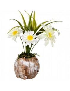 Macetero de madera natural con 3 tallos de flores Blanco Ø16x20cm