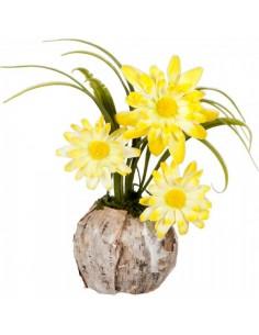 Macetero de madera natural con 3 tallos de flores para la decorar en primavera centros comerciales y escaparates