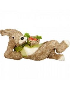 Conejo posición acostado con cesto zanahorias para escaparates de tiendas y pastelerías en pascua