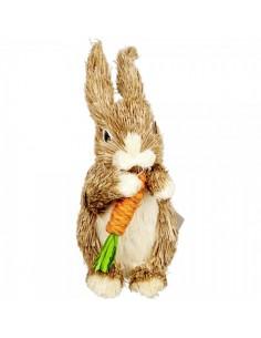 Conejo posición de pie comiendo zanahoria para escaparates de tiendas y pastelerías en pascua