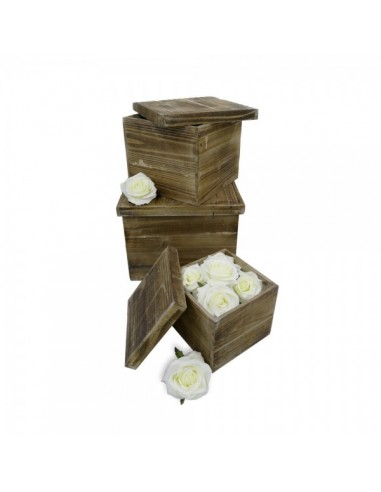 Caja de madera cuadrada con tapa para la decorar en primavera centros comerciales y escaparates