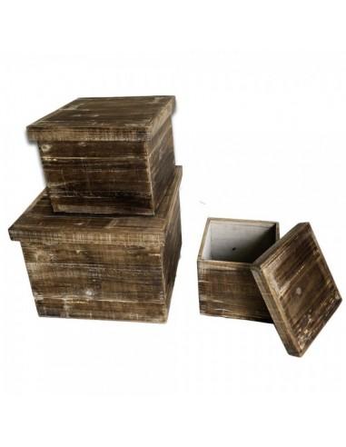 Caja de madera rectangular con tapa para la decorar en primavera centros comerciales y escaparates