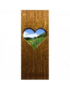 Banner-poster de puerta con ventana de corazón al prado Para la decoración de escaparates de tiendas