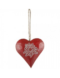 Corazón con dibujo flor edelweiss para escaparates en verano de tiendas o comercios