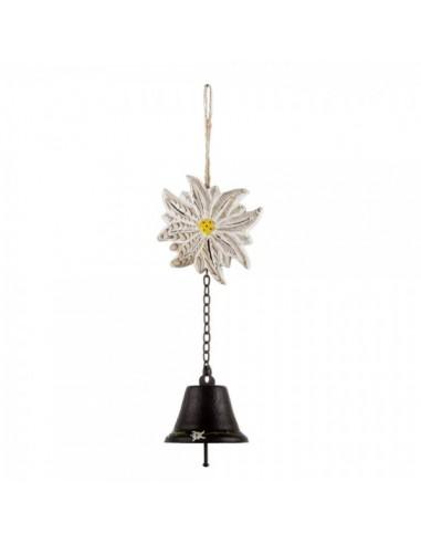 Campana con cadena y flor edelweiss para escaparates en verano de tiendas o comercios