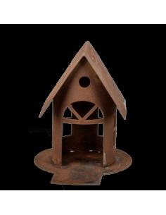 Casa para pájaros metálica para escaparates en verano de tiendas o comercios