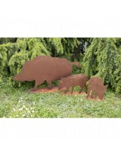 Figuras de jabalíes metálicos comiendo con base para la decorar espacios y escaparates de verano con mamíferos y aves