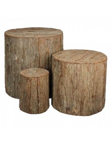 Conjunto de 3 troncos de árbol grandes para escaparates en verano de tiendas o comercios