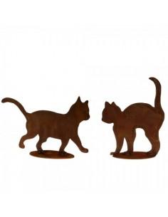 Figura de gato de metal caminando con base para la decorar espacios y escaparates de verano con mamíferos y aves