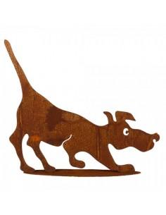 Figura de perro de metal caminando con base para la decorar espacios y escaparates de verano con mamíferos y aves