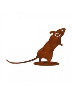 Figura de ratón de metal caminando con base para la decorar espacios y escaparates de verano con mamíferos y aves
