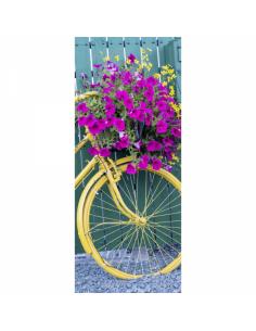 Banner-poster de bicicleta amarilla con flores Para la decoración de escaparates de tiendas
