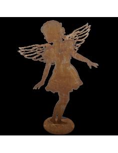 Silueta de niña con alas de ángel de meta con base para escaparates en verano de tiendas o comercios