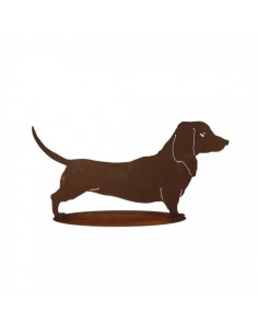 Figura de perro salchicha de metal con base para la decorar espacios y escaparates de verano con mamíferos y aves