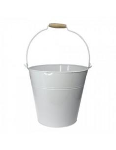 Cubo de zinc con mango de madera para escaparates en verano de tiendas o comercios