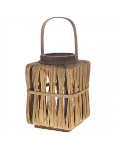 Farolillo con hojas secas y accesorio de cristal para escaparates en verano de tiendas o comercios