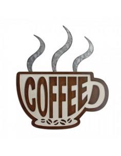 Letrero de taza coffee para escaparates en verano de tiendas o comercios