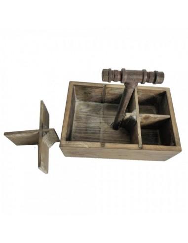 Caja de madera vintage para transportar con 6 compartimentos para escaparates en verano de tiendas o comercios