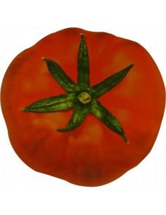 Imagen fotográfica de un tomate de ensalada para la decoración de escaparates en verano con imitación alimentos