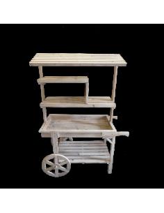 Carro de venta ambulante de madera con estante y techo de listones para escaparates en verano de tiendas o comercios