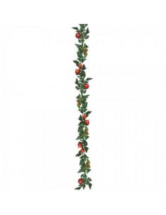 Imitación de guirnalda de tomates rojos con hojas para la decoración de escaparates en verano con imitación alimentos