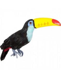 Pájaro tucán pico amarillo para la decorar espacios y escaparates de verano con mamíferos y aves