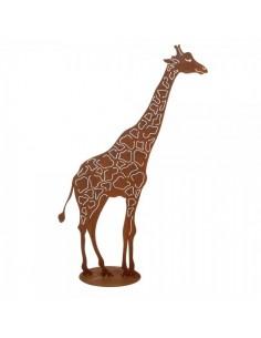 Silueta de jirafa en metal para la decorar espacios y escaparates de verano con mamíferos y aves