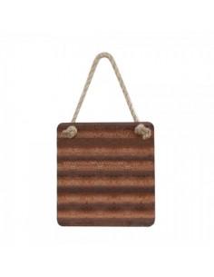 Cuadro con cuerda de chapa corrugada para escaparates en verano de tiendas o comercios