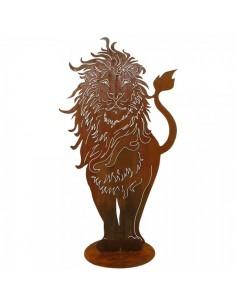 Silueta de león en metal para la decorar espacios y escaparates de verano con mamíferos y aves