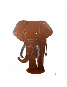 Silueta de elefante en metal para la decorar espacios y escaparates de verano con mamíferos y aves
