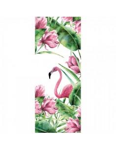 Banner-poster dibujo de flamencos con flores Para la decoración de escaparates de tiendas