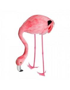 Flamenco comiendo tamaño pequeño para la decorar espacios y escaparates de verano con mamíferos y aves