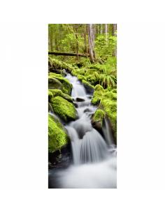 Banner-poster cascada rio con vegetación y musgo Para la decoración de escaparates de tiendas