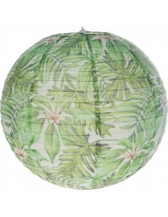 Farolillo redondo de papel estampado con motivos de la jungla para escaparates en verano de tiendas o comercios
