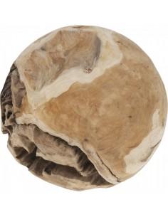 Bola decorativa en madera natural de teca para escaparates en verano de tiendas o comercios