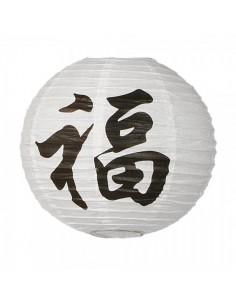 Farolillo redondo de papel de seda con impresión texto chino para escaparates en verano de tiendas o comercios