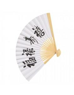Abanico de papel de seda con textos chinos para escaparates en verano de tiendas o comercios