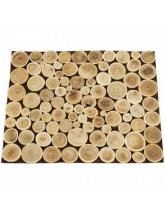 Panel de discos de madera cortada para escaparates veraniegos con helados en tiendas