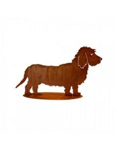 Perro salchicha de metal para la decorar espacios y escaparates de verano con mamíferos y aves