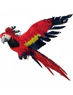Papagayo tropical volando para la decorar espacios y escaparates de verano con mamíferos y aves