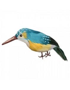 Pájaro martín pescador de pie para la decorar espacios y escaparates de verano con mamíferos y aves